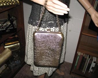 W-1-5***1960's GOLD metallic vertical handbag/purse-Cuter Than Crap!
