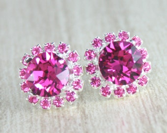 Hot pink crystal earrings Bridesmaid earrings jewelry Hot pink wedding jewelry Fuschia earrings Hot pink fuschia wedding Neon wedding Pink