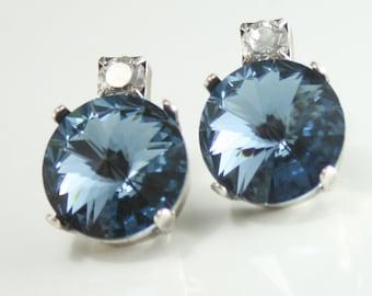 Swarovski bridesmaid earrings,Swarovski bridal earrings,swarovski wedding jewelry,swarovski denim blue rivoli earrings,rivoli earrings,blue