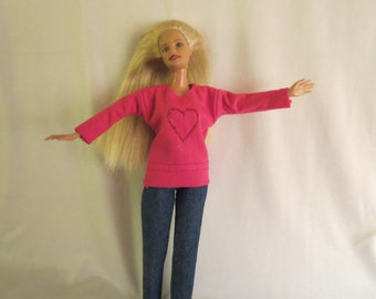 Handmade Barbie clothes - Shirt and jeans
