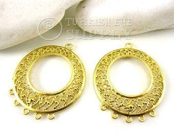 2 pc Filigree Chandelier Earring Component Pendants, 22K Gold Plated Earring Components with Multiple Loops, Turkish Jewelry