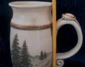 HUGE handmade stoneware mug with handpainted evergreen tree scene and BIG handle