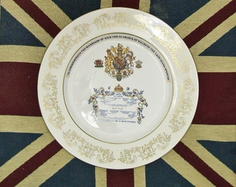 Commemorative Aynsley china wall plate - Royal wedding of Charles & Diana 1981