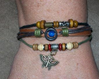 Handmade Women's  Leather Butterfly Charm Bracelet