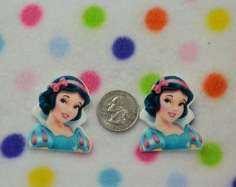 2 Snow white -  Flatback Resin Cabochons Decoden