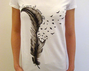 hand painted t shirt, feather t-shirt, artsy t-shirt, gift for her, feather print