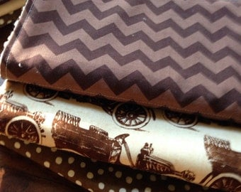 Handmade chenille burp cloths set of 3.