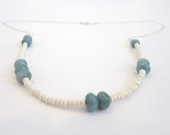 White Turquoise Necklace, Long Turquoise Necklace, White and Blue Necklace, Blue Jade Necklace, Long Silver Necklace, Statement Necklace
