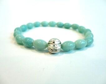 Amazonite Rice Bead Bracelet, Sterling Silver Bead, Tiffany Blue Bracelet, Light Blue Bracelet, Stretch Bracelet, Elastic Bracelet, Summer