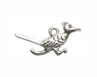 12 Silver Roadrunner Charm Bird Pendant 14x28mm by TIJC SP0286