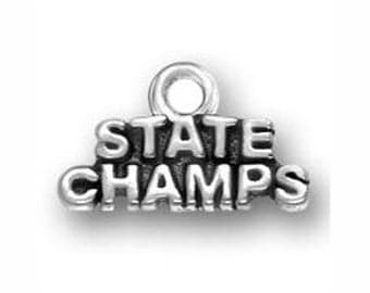 5 pcs - Silver State Champs Charm 10x16mm - Ships from Texas by TIJC - SP0459