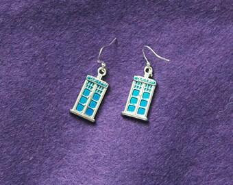 Enamel police box earrings