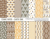 "Tribal ""DIGITAL PAPER"" Ethnic Pattern - Sand, Brown, Gray"