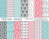 "Tribal ""DIGITAL PAPER"" Aztec inspired Pattern  - Blue and Pink"