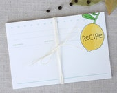 Lemon Recipe Cards 4x6 // Modern Gift for Cooks // Stocking Stuffer Gift // Set of 6 // Bridal Shower Gift