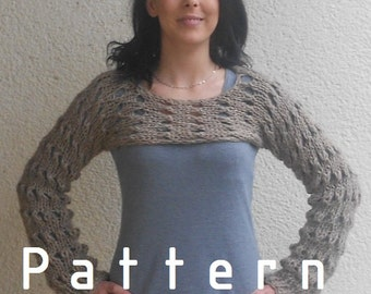 Knitting Pattern for the Browny cropped sweater shrug /Stoney /loose knit
