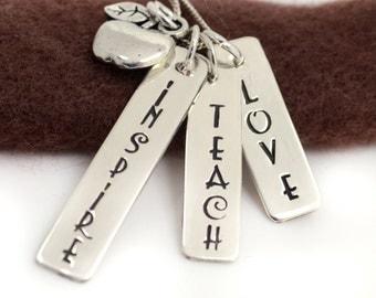 Hand Stamped Teacher Appreciation Necklace - Personalized Jewelry - Teacher Appreciation Necklace - Teacher Gift, Insprire, Teach, Love
