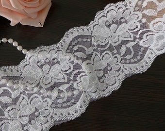 "Off White Stretch Lace 3.8"" Bridal Elastic Rose Lace Trim for Headbands, Garters, Lingerie, Costumes, 2 Yards"