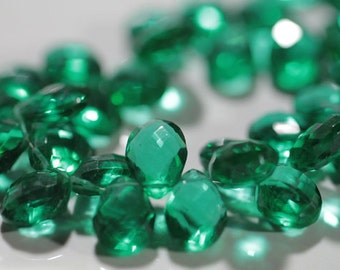 Emerald Green Quartz Faceted Pear Briolettes, 13 - 14 mm, half strand,  28 beads GM2205FP/14/2 #178