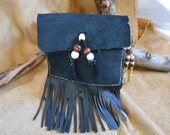 Handsewn, Handstitched Leather Belt Bag, Cell Phone Bag, Key Chain, Black Cowhide Leather, OOAK, Native American by Oglala Lakota Artist - FaerieTeaAndTreasure