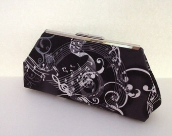 Black and White Music Lover Print Cotton Clutch Purse