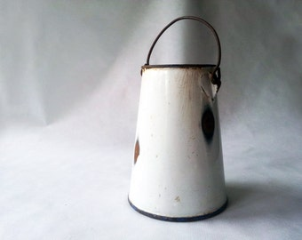 French Vintage Enamelware White PITCHER, Bucket/  French decor /French kitchen / Shabby chic/ French country /Rustic Wedding