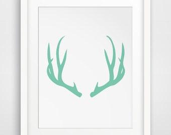 Mint Antler Print, Antler Art Print, Deer Wall Art, Antler Decor, Mint Green Deer Antlers, Printable Wall Art, Wall Print, Mint Antlers