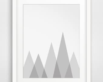 Mountain Wall Art, Grey Wall Prints, Mountain Print, Grey Art, Printable Art, Nursery Art, Grey and White, MelindaWoodDesign