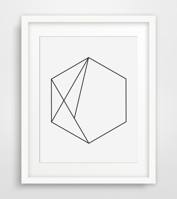 Hexagon art minimal geometric print simple by for Modern minimalist wall art