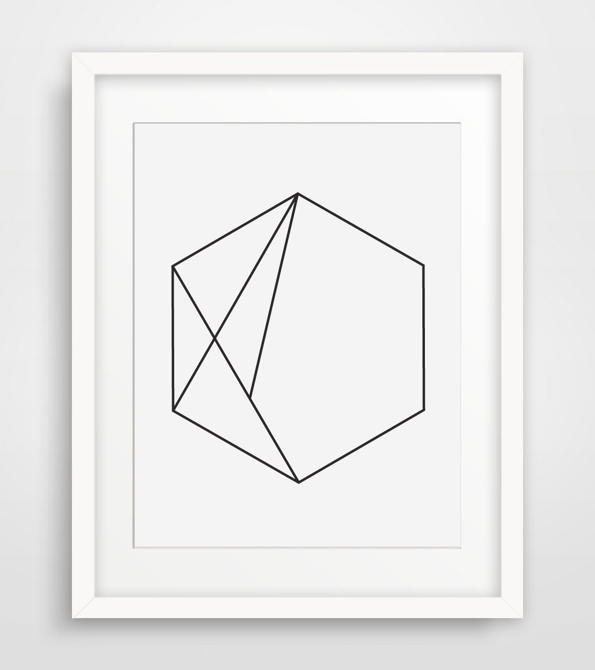 Hexagon art minimal geometric print simple wall art hexagon for Minimalist wall decor