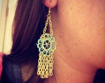 Painted lace earrings in turquoise with gold glitter
