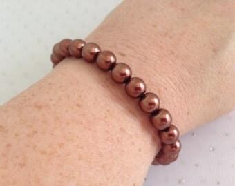 Brown Pearl Bracelet, Brown Wedding, Bridesmaid Jewelry, Brown Jewelry, Glass Pearl Bracelet, Beaded Jewelry
