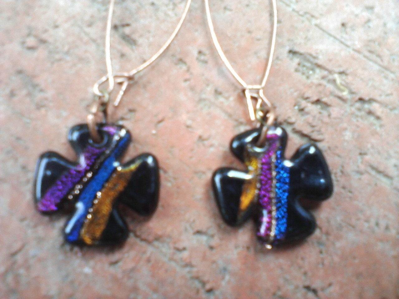 Dichroic, Glistening Black Glass Celtic Cross - Long Luscious Copper Kidney Wired Earrings, OOAK Glass Celtic Cross Earrings