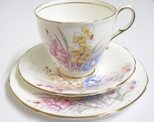 Vintage Tea Trio by Paragon China, Pastel Flowers, Hand Painted