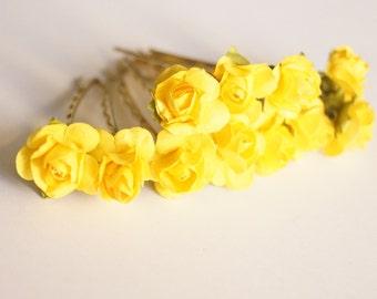 Bridal Hair Accessories, Yellow Rose, Yellow flower Hair Bobby Pin, Brass Bobby pin- set 6