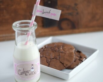 Vintage Milk and Cookies Birthday or Baby Shower - Pink - Printable Customized Package