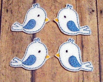 White Bird felties, feltie, machine embroidered, felt applique, felt embellishment, hair bow center, hair bow supplies, felt planner clip