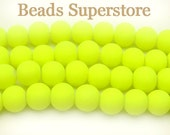 8mm Fluorescent Neon Yellow Glass Round Bead - 30pcs