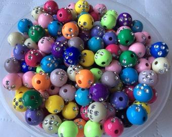 50 pcs 12 mm Mixed Silver Accent Acrylic Beads, mixed Round Bead , mixed Acrylic Bead, 12 mm Resin Bead,BubbleGum Bead,mixed 12 mm bead