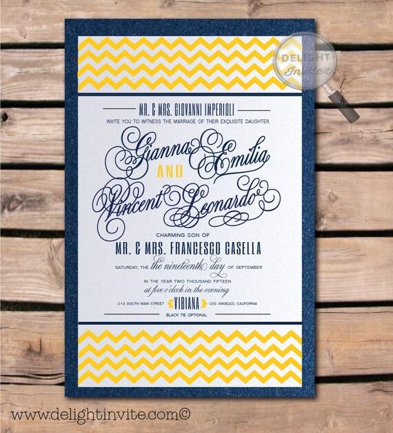 Navy Blue And Yellow Chevron Wedding Invitation By