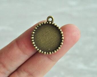 20pcs 18mm Pad Antique Bronze Round Cameo Cabochon Base Settings Match PP450