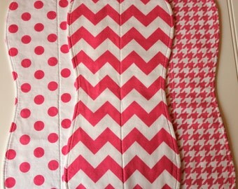 Baby Burp Cloths - Baby Burp Rags - Boutique Quality - Set of three - Chevron, Houndstooth, Polka Dots