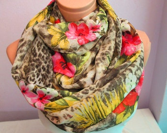 SALE----Hawaian Infinity Scarf, Shawl Circle Scarf, Loop scarf, Gift Idea, Scarves