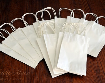 SMALL White Recycable Kraft Paper CARRY BAGS with Paper Twist Handles - 265 x 155 x 53 mm - Perfect for Gifts / Markets/ Fairs/ Craft