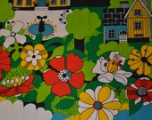 Retro swedish fabric, design probably Ulla Bodin Almedahls 70s wall textile, children's room