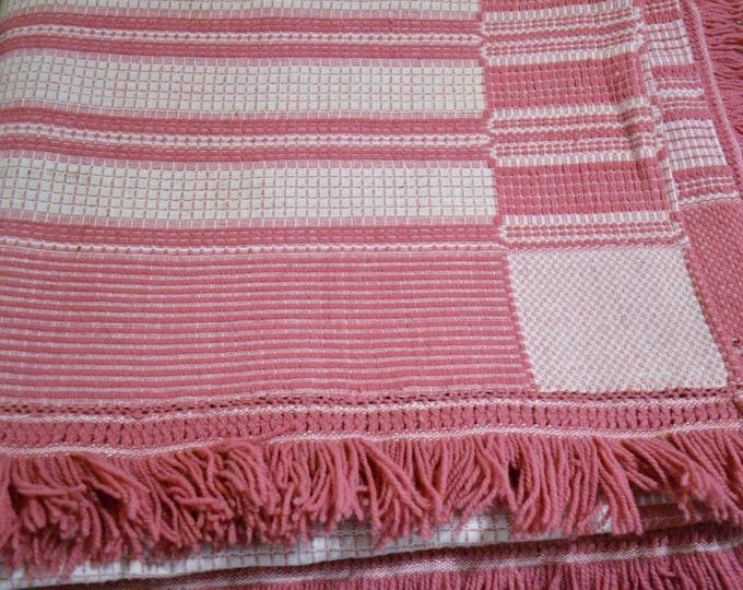 Vintage Hand Woven Bedspread Pillow Cover Pink White Sarah Key Patten 92 x 76 Panchosporch