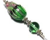 5 Green Glass Bead Hat Pin Vintage Tibetan Antique Silver Style  With Pin Protector (HP38)