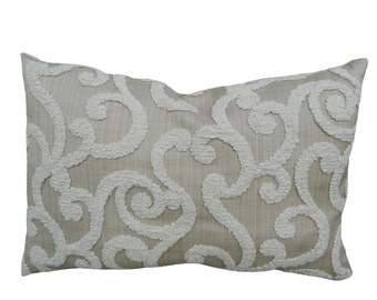 SAMPLE SALE***Embroidered Scroll 12''x18'' Lumbar Pillow Cover