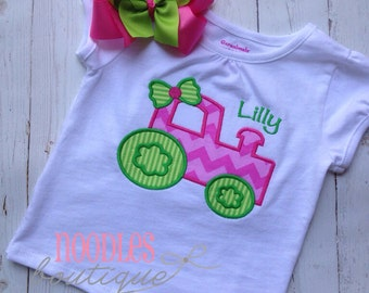 Girl Tractor Personalized Shirt