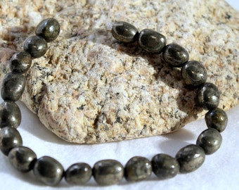 Pyrite beads, 'Fools Gold' 8 inch strand (20 beads) of 8x10 mm tumbled nuggets